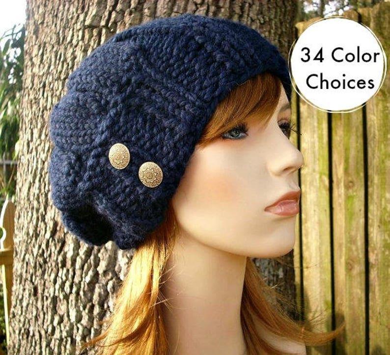 d462a5a9767 Navy Blue Beret Knit Hat Navy Womens Hat Urchin Beret Hat