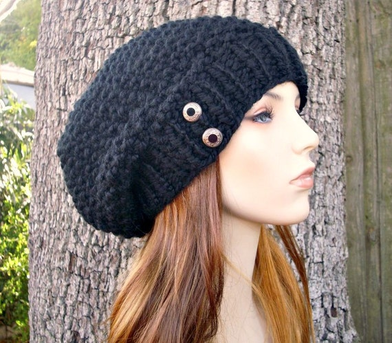 Knit Hat Black Womens Hat - Oversized Seed Beret in Black Knit Hat - Black Hat Black Beanie Black Beret Womens Accessories