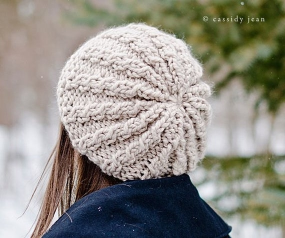 Knit Hat Womens Hat Slouchy Hat - Rasta Thumb Cable Beret Hat - Linen Cream Hat Cream Beret Cream Beanie Knit Accessories