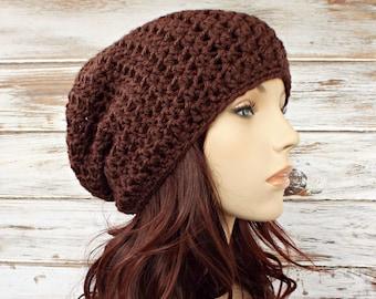 Crochet Hat Brown Womens Hat - Memphis Slouchy Beanie Hat Chocolate Brown Hat Brown Beanie Womens Accessories Winter Hat