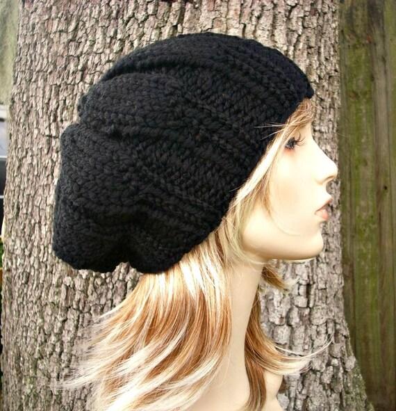 Knit Hat Black Womens Hat - Urchin Beret Hat in Black Knit Hat - Black Hat Black Beret Black Beanie Womens Accessories