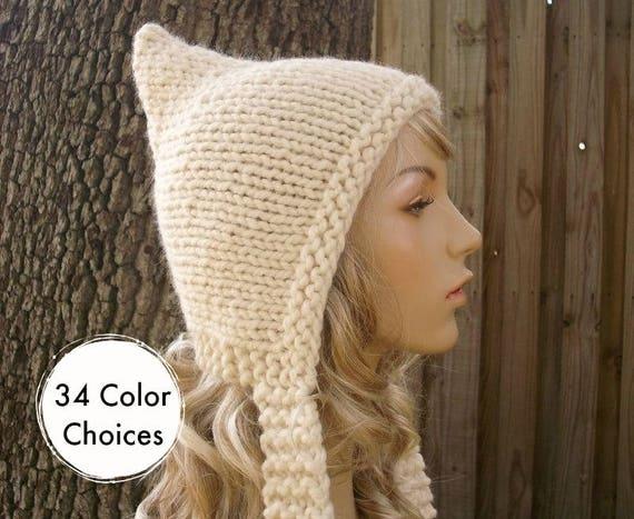 Hand Knit Hat Womens Cream Pixie Hat - Cream Knit Hat -  Cream Hat Womens Accessories Winter Hat