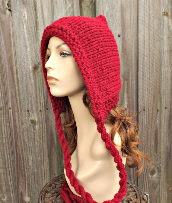 Womens Cranberry Red Pixie Hat Chunky Knit Ear Flap Hat - Short Point Pixie Hat Knit Accessories Fall Fashion Winter Hat