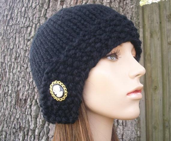 Knit Hat Black Womens Hat - Cloche Hat Black Knit Hat - Black Hat Black Beanie Black Cloche Womens Accessories