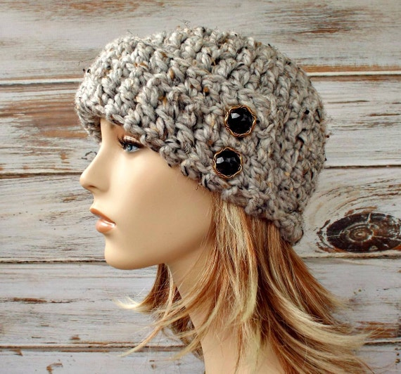 Crochet Hat Womens Hat 1920s Flapper Hat - Garbo Cloche Hat Tweed Grey Crochet Hat - Grey Hat Grey Beanie Grey Cloche Womens Accessories