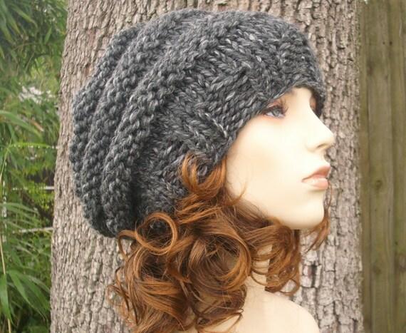 Knit Hat Womens Hat Slouchy Beanie - Oversized Beehive Beret Hat Granite Grey Knit Hat - Grey Hat Grey Beret Grey Beanie Womens Accessories