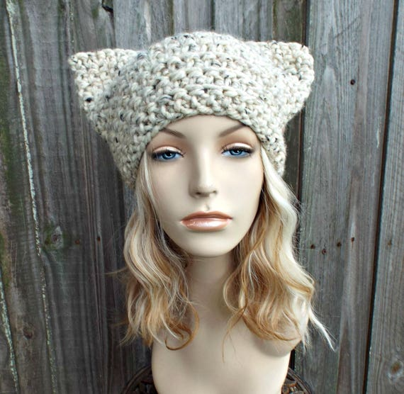 Oatmeal Cat Hat - Thermal Crochet Womens Warm Winter Beanie in Oatmeal Tweed - Pussyhat Pussy Hat
