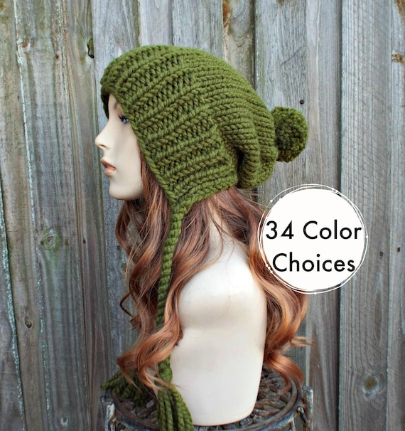 Olive Green Chunky Knit Hat Womens Hat Green Hat Green  1b5d0ccf088