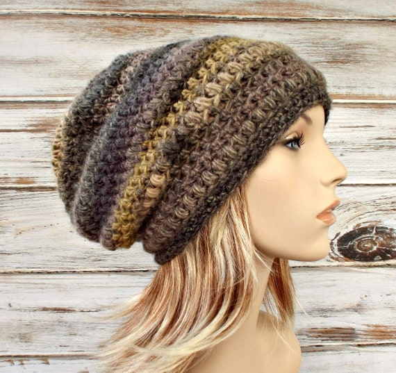 Crochet Hat Womens Hat - Penelope Puff Stitch Slouchy Beanie Hat in Grey Olive Green Medley Crochet Hat - Winter Hat - READY TO SHIP