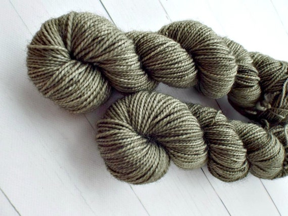 Hand Dyed Sock Yarn Superwash Wool Nylon 80/20 Fingering Weight Yarn Sock Yarn 50 Grams - Olive Tonal Sock Yarn Olive Yarn - Olive Drab