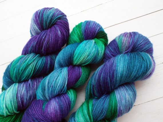 Hand Dyed Yarn Hand Dyed Sock Yarn Superwash Merino Nylon Blend 80/20 Fingering Weight Yarn - Variegated Yarn Green Blue Purple - Mermaid