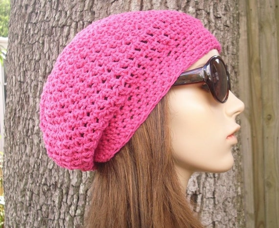 Pink Womens Hat Slouchy Beanie - Weekender Slouchy Hat Hot Pink Cotton Crochet Hat - Pink Hat Raspberry Pink Beanie Womens Accessories