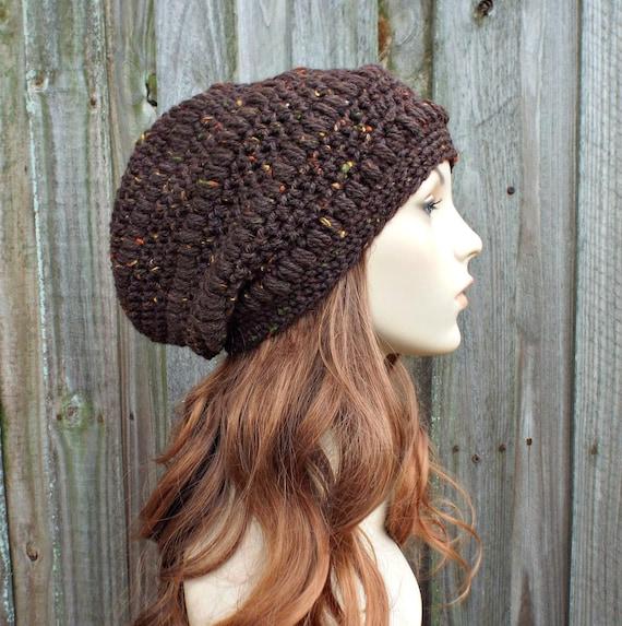 Chestnut Tweed Brown Crochet Hat Womens Hat - Penelope Puff Stitch Slouchy Beanie Hat - Brown Beanie Brown Hat Wool Hat
