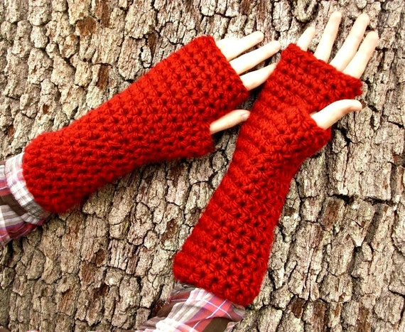 Crocheted Fingerless Gloves Mittens - Red Fingerless Gloves - Red Gloves Red Mittens Red Womens Gloves Womens Accessories
