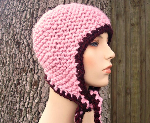 Pink Womens Hat - Garter Ear Flap Hat in Pink Knit Hat Pink Hat Pink Ear Flap Hat Pink Beanie Womens Accessories - READY TO SHIP