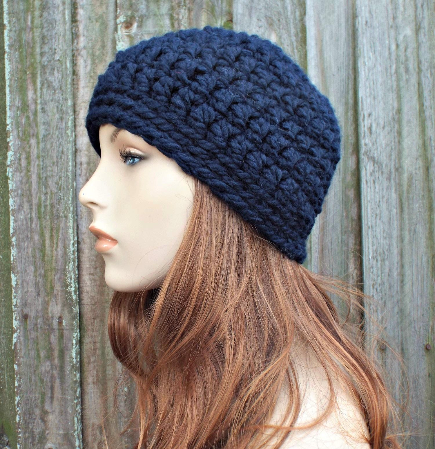 e9683dad3e Navy Blue Beanie - Blue Crochet Hat Blue Womens Hat Blue Mens Hat - Warm Winter  Hat Blue Hat