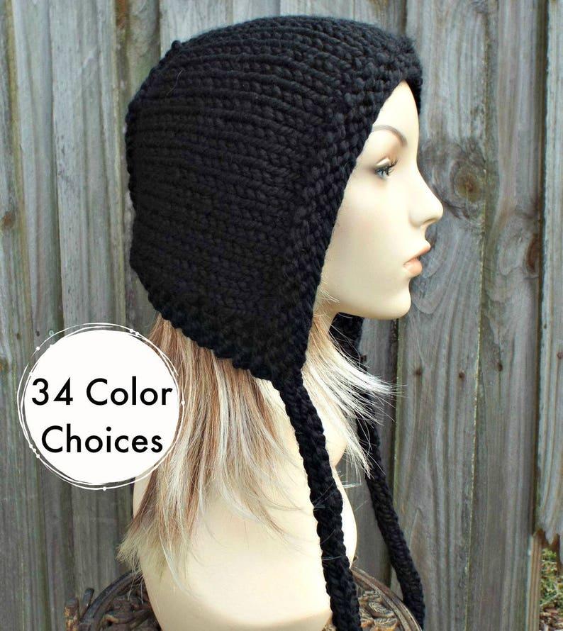 6a2521af5e1 Black Knit Hat Aviator Adult Bonnet Hood with Ties