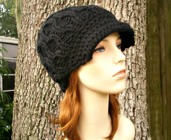 Knit Hat Womens Hat Black Newsboy Hat - Amsterdam Cable Beanie with Visor in Black Knit Hat - Black Hat Black Beanie Womens Accessories