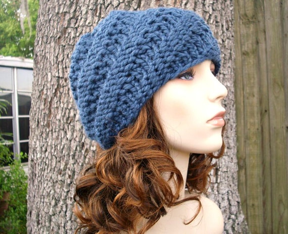Knit Hat Blue Mens Hat Blue Womens Hat - Swirl Beanie in Denim Blue Knit Hat - Blue Hat Blue Beanie Womens Accessories Winter Hat