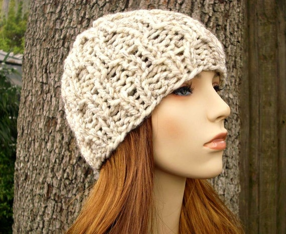 Knit Hat Wheat Cream Womens Hat - Amsterdam Cable Beanie in Wheat Cream Knit Hat - Cream Hat Cream Beanie Womens Accessories Winter Hat