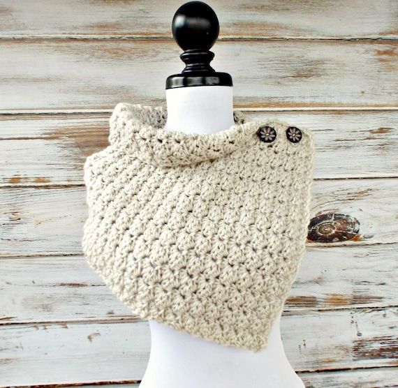Crochet Cowl Scarf - Eloise Cowl Crochet Capelet in Cream Linen - Snood Cream Cowl Cream Scarf Cream Capelet Linen Cowl Womens Accessories