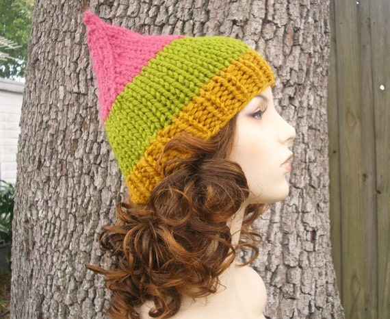 Knit Hat Womens Hat - Gnome Hat in Rose Garden Pink Green Yellow Knit Hat - Womens Accessories Winter Hat