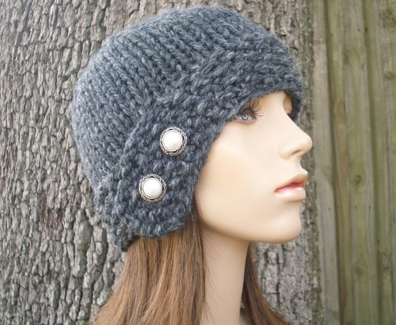 Knit Hat Grey Womens Hat - Cloche Hat in Granite Grey Knit Hat - Grey Hat Grey Beanie Grey Cloche Hat Womens Accessories Winter Hat