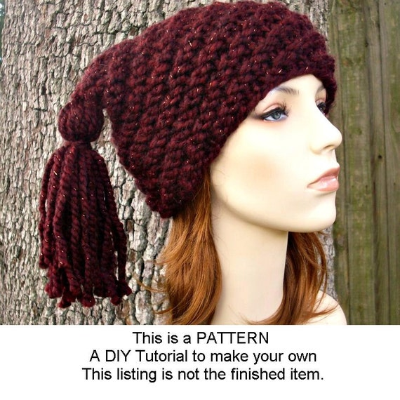 Instant Download Knitting Pattern - Knit Hat Knitting Pattern - Knit Hat Pattern for Spiral Ponytail Tassel Hat - Womens Accessories