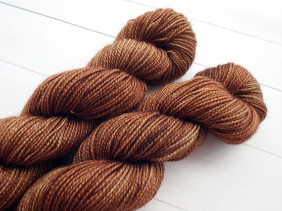 Hand Dyed Sock Yarn Superwash Wool Nylon 80/20 Fingering Weight Yarn Sock Yarn 50 Grams - Tonal Brown Yarn - Fawn Brown Sock Yarn