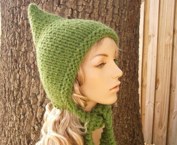 Grass Green Pixie Hat Green Knit Hat Green Womens Hat - Green Hat Womens Pixie Hat Womens Accessories Fall Fashion Winter Hat