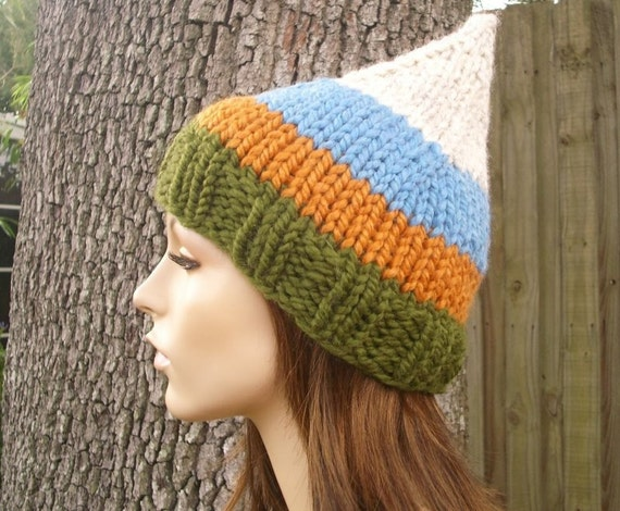 Knit Hat Womens Hat - Gnome Hat in Fall Into Winter Green Orange Blue Knit Hat - Womens Accessories Winter Hat