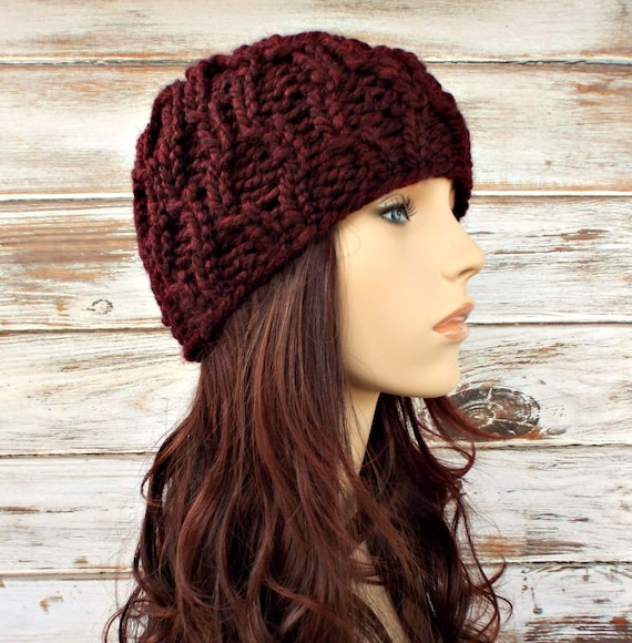Burgundy Red Cable Beanie Chunky Knit Hat Red Womens Hat - Amsterdam Cable Hat - Red Hat Red Beanie Womens Accessories