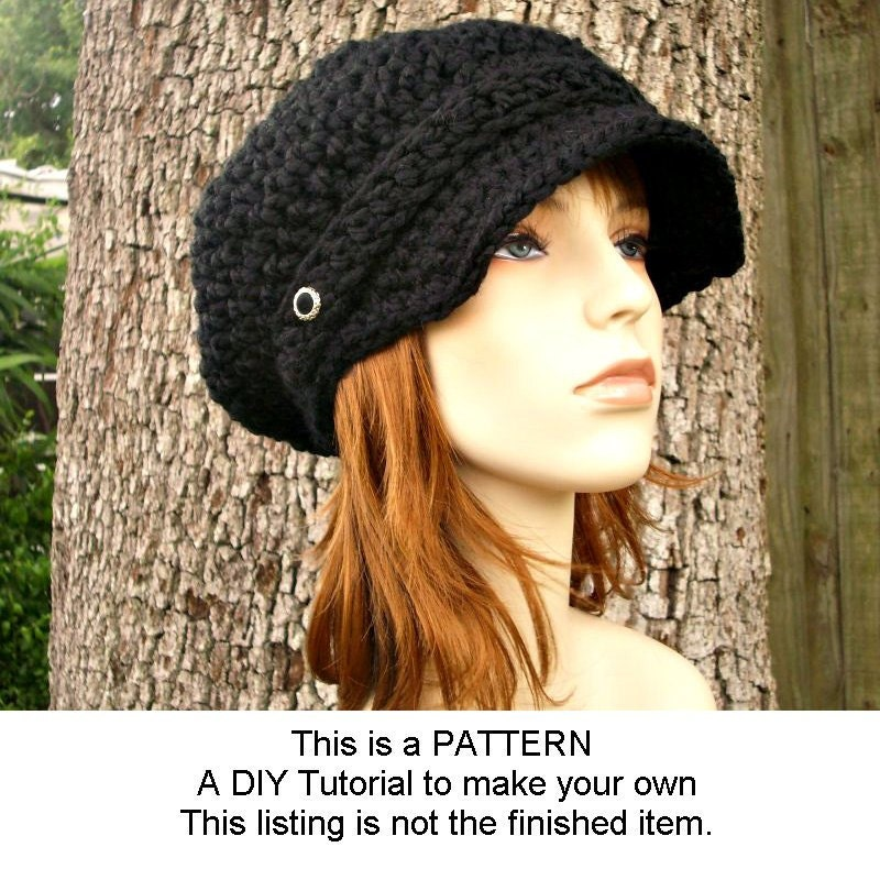 Instant Knitting Pattern Knit Hat Pattern Chunky Newsboy Hat Pattern