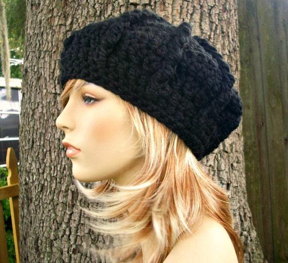 Crochet Hat Black Womens Hat - Oversized Monarch Ribbed Beret in Black Crochet Hat - Black Hat Black Beret Black Beanie Womens Accessories