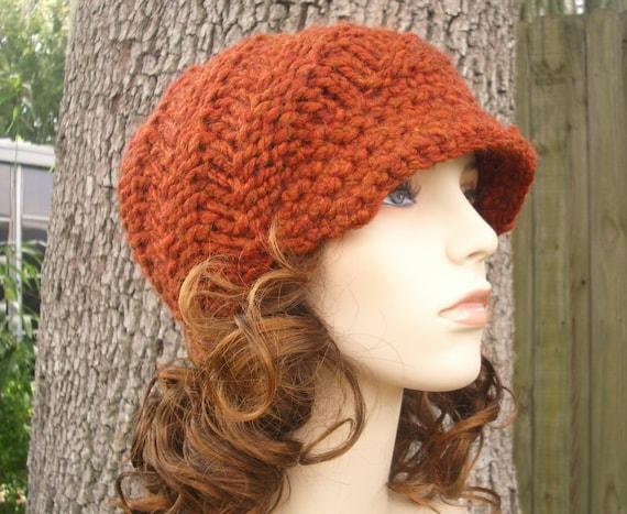 Knit Hat Orange Womens Hat Orange Newsboy Hat - Swirl Beanie with Visor Rust Orange Knit Hat - Orange Hat Orange Beanie Womens Accessories
