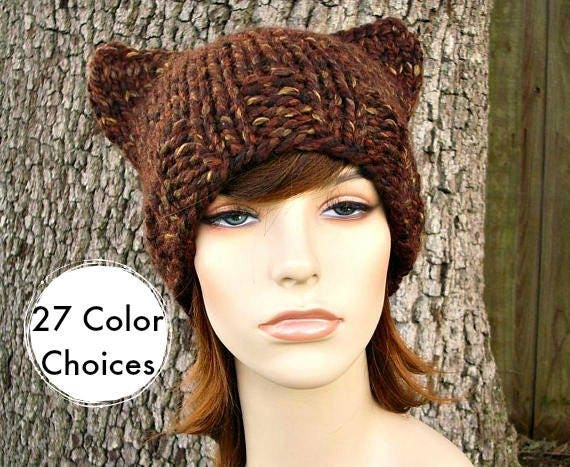 Chunky Knit Hat Womens Sequoia Brown Cat Beanie - Brown Knit Hat Brown Hat Brown Beanie Brown Cat Hat Winter Hat