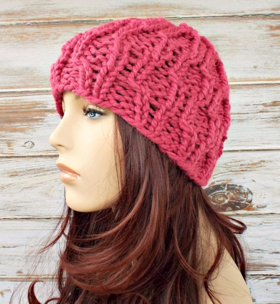 Raspberry Pink Cable Beanie Womens Hat - Amsterdam Cable Beanie - Pink Hat Pink Beanie Pink Knit Hat Womens Accessories Winter Hat