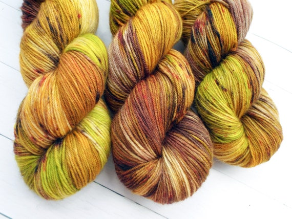 Hand Dyed Yarn Hand Dyed Sock Yarn Superwash Merino Nylon Blend 80/20 Fingering Weight Yarn Speckled Yarn Green Yellow Yarn - Amazon Jungle