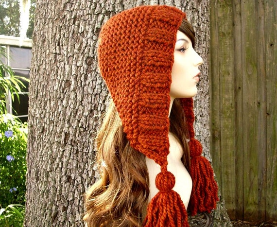 Burnt Orange Hood Orange Womens Hat Orange Ear Flap Hat - Tassel Hat Rust Orange Knit Hat - Burnt Orange Hat Womens Accessories Winter Hat