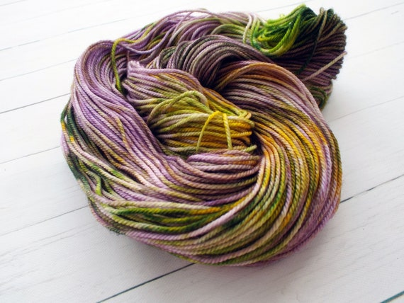 Hand Dyed Yarn DK Weight Yarn 100% Superwash Merino - Variegated Yarn Speckled Yarn Green Purple Yellow - Pansy