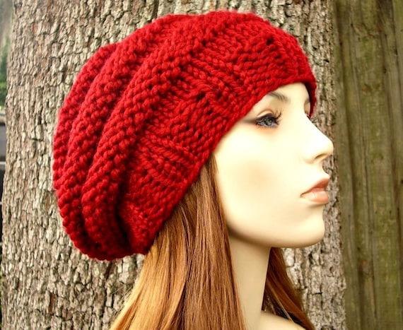 Knit Hat Womens Hat - Original Beehive Beret Hat in Cranberry Red Knit Hat Red Hat Red Beret Red Beanie Womens Accessories