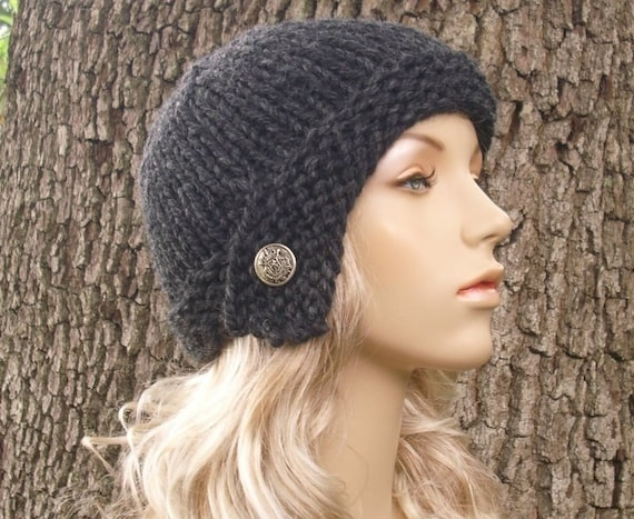 Grey Womens Hat - Grey Cloche Hat Charcoal Grey Knit Hat - Grey Hat Grey Beanie Womens Accessories Fall Fashion Winter Hat