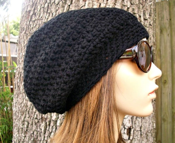 Crochet Hat Womens Hat Slouchy Beanie - Weekender Slouchy Hat in Black Crochet Hat - Black Hat Black Beanie Womens Accessories Winter Hat