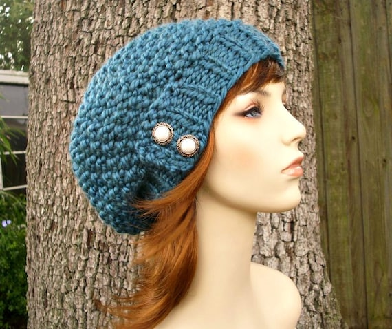 Knit Hat Blue Womens Hat - Seed Beret Hat in Teal Blue Knit Hat - Blue Hat Blue Beret Blue Beanie Womens Accessories
