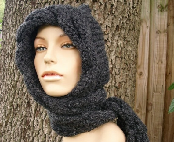Hooded Scarves Womens Hat - Cable Scarf Hat in Charcoal Grey - Hooded Scarf Knit Hat - Grey Hat Grey Scarf