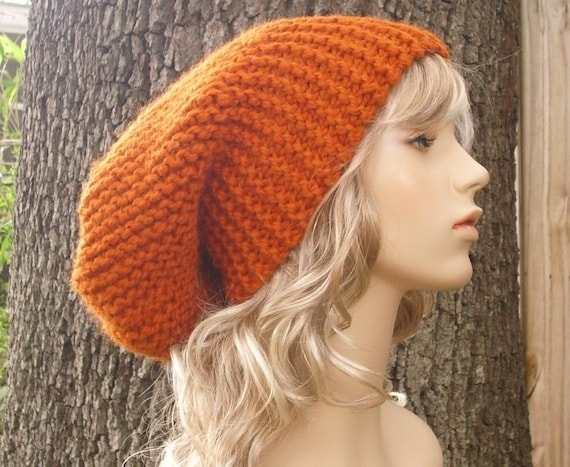 Knit Hat Womens Hat Slouchy Beanie - Slouchy Hat in Pumpkin Orange Knit Hat - Orange Hat Orange Beanie Womens Accessories Winter Hat