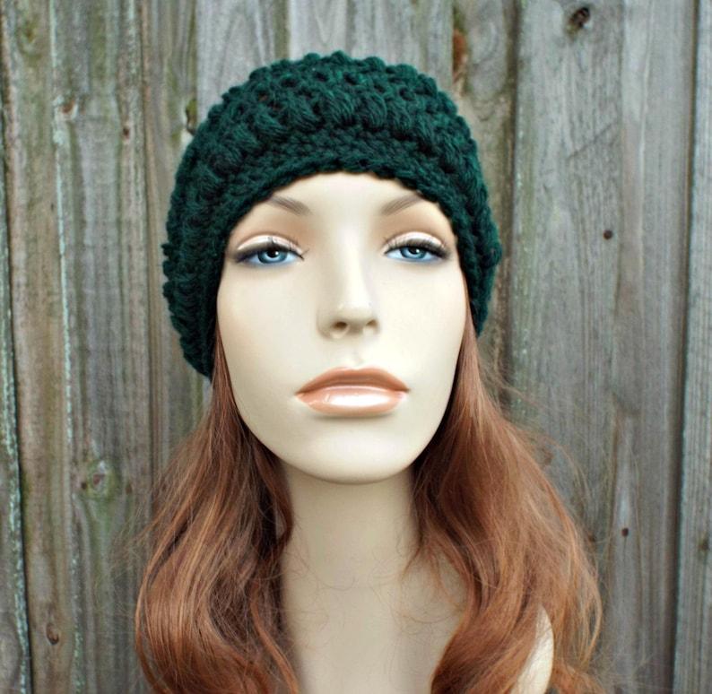11c4f6b7995b5c Hunter Green Crochet Hat Womens Hat Penelope Puff Stitch   Etsy