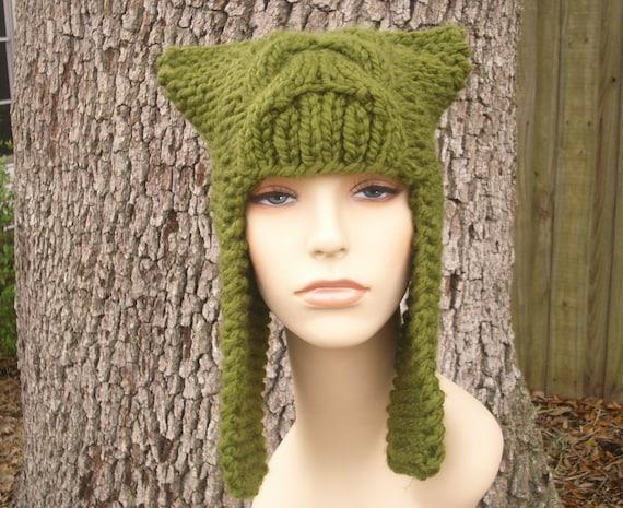 Knit Hat Womens Hat - Dragon Slayer Ear Flap Hat in Olive Green Knit Hat - Green Hat Green Ear Flap Hat Womens Accessories Winter Hat