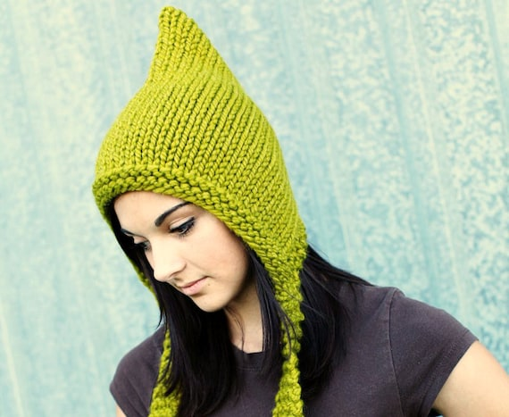 Green Chunky Knit Hat Women Pixie Hat in Lemongrass Green Knit Hat - Green Hat Green Pixie Hat Winter Hat