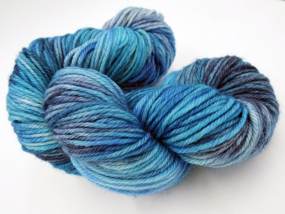 Hand Dyed Yarn 100% Superwash Merino Yarn Worsted Weight Yarn - 220 Yards - Variegated Yarn Blue Yarn - Adrift